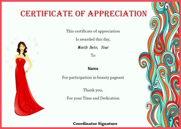 certificate of appreciation for beauty pageant on beauty