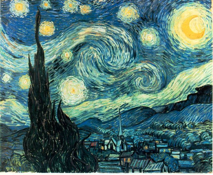 Starry Night - Van Gogh - Painted at St. Remy 1889, MOMA