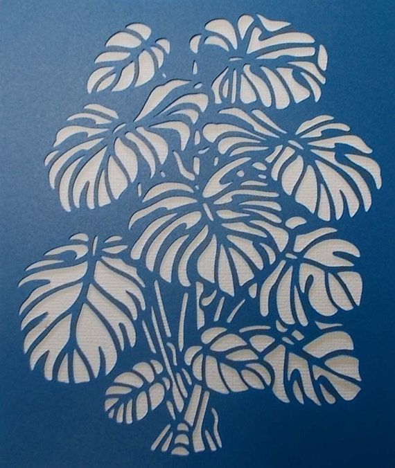 Monstera Stencil от BettsHandmadecrafts на Etsy