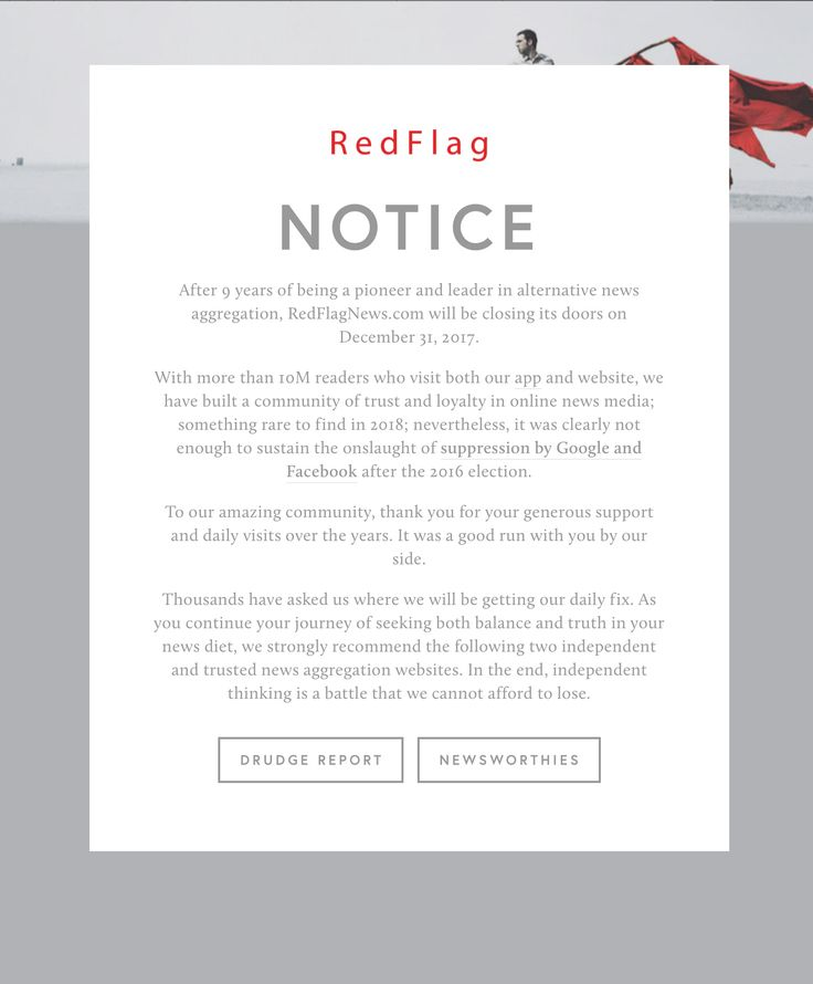 MEDIA: Red Flag News Notice.