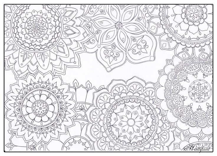 Stress Relief Mandala Flowers - get more of Hattifant's Stress Relief Coloring Pages. We all need to relax! ;-) Enjoy!