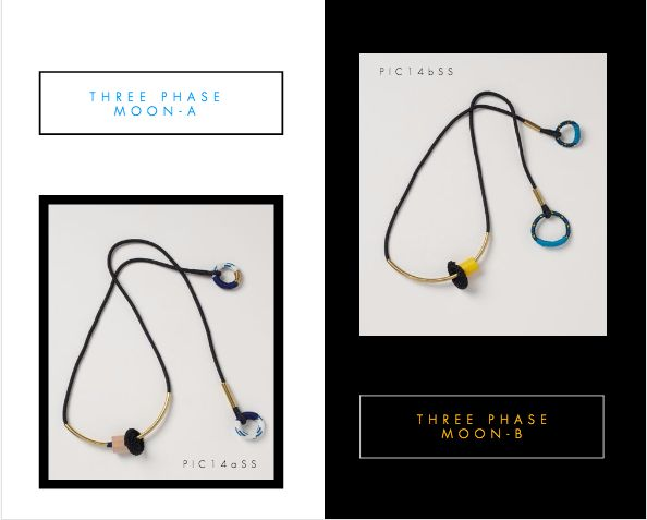 Three Phase Moon A and Three Phase Moon B Necklaces.  Buy Online: www.pichulik.com/shop