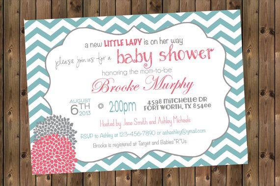 Baby Girl Shower Invitation Chevron Invitation by RockStarPress, $13.00