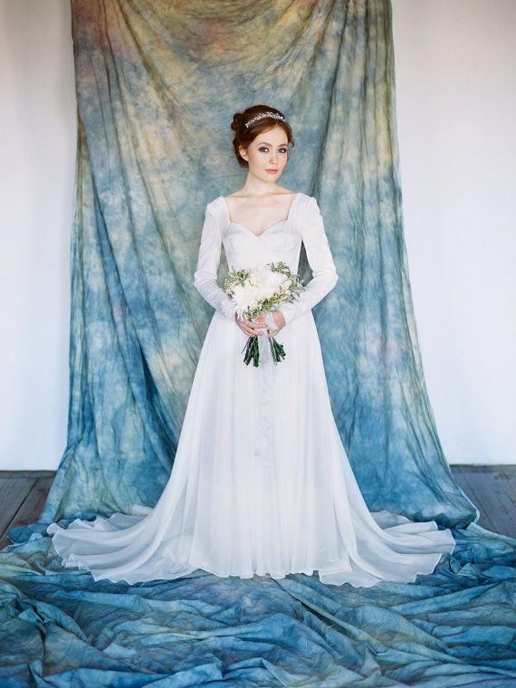 Andromeda // Classic wedding gown Long sleeved by Milamirabridal