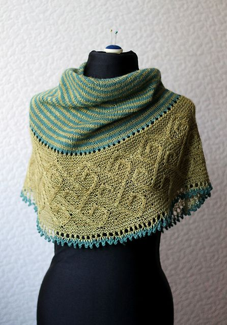 Ravelry: Carradal pattern by Lucy Hague celtic cable shawl two shades of green  knitting