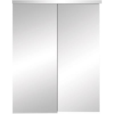 TRUporte 325 Series 48 in. x 80 in. Steel White Frameless Mirror Sliding Door-347503 at The Home Depot