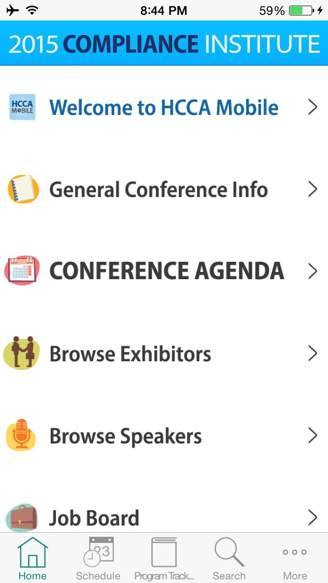 HCCA 2015 CI NOW screen for iOS devices in the EventPilot Conference App.