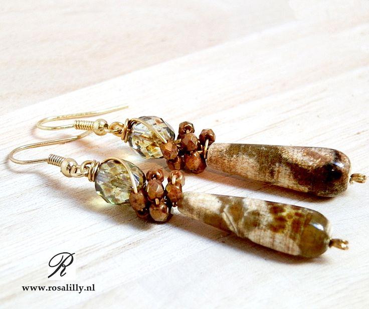 #Artisan #Earrings #Agate #Artisan #oorbellen Schildpad #agaat