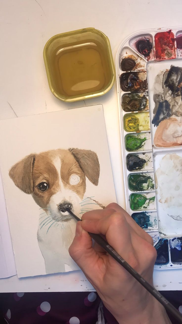 Watercolor Time Lapse – Jack Russell Puppy