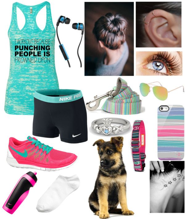 Morning Runs by hpbookworm featuring tennis shoes ❤ liked on PolyvoreActivewear top / NIKE activewear shorts / Ankle socks / NIKE tennis shoes / Gold jewelry / Gemvara ring / Skullcandy iphone earbud / Belkin tech accessory / With Love From CA aviator sunglasses / Candy Stripe Dog Leash / Southwestern Ruby pink stripe dog collar Tribal, Navajo, Native… / Nike Sport Water Bottle, $17
