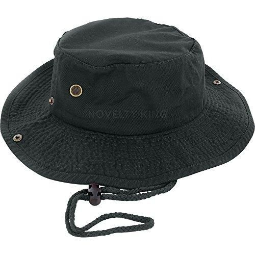 c7c8bf0e310e Bucket Hat with Chin String for Summer Wear Beach and Parties- Black cotton