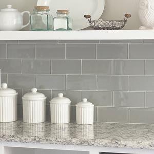 Gray Glass Subway Tile, Transitional, kitchen, Valspar Tranquil, Jenna Sue Design