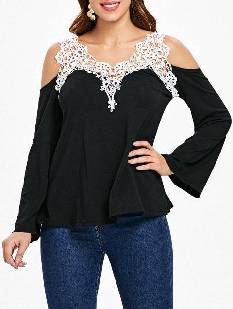 5ae078da53782c Cold Shoulder Color Block Lace Splicing T-Shirt - BLACK M