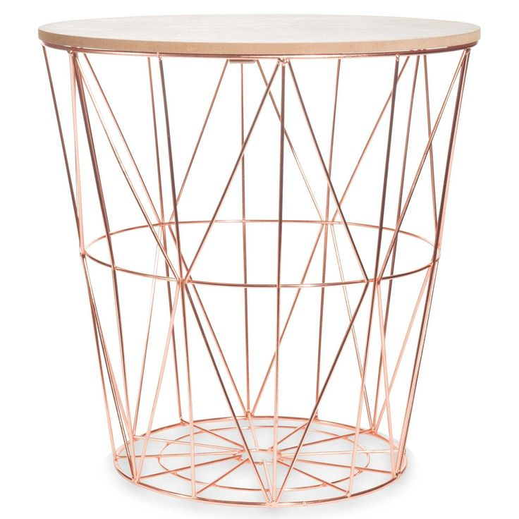 ZIGZAG COPPER metal side table, D40cm