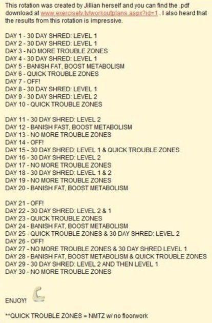 jillian michaels body revolution schedule pdf