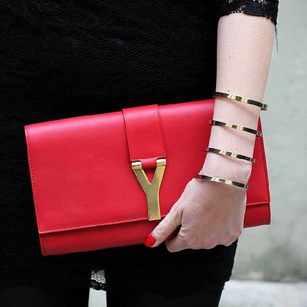 Saint Laurent Y Ligne Clutch Bag, Red | Bags | Pinterest