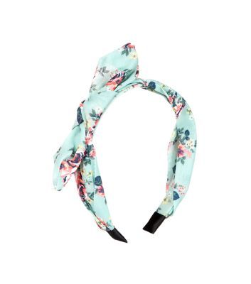 Mint Green Floral Print Alice Band