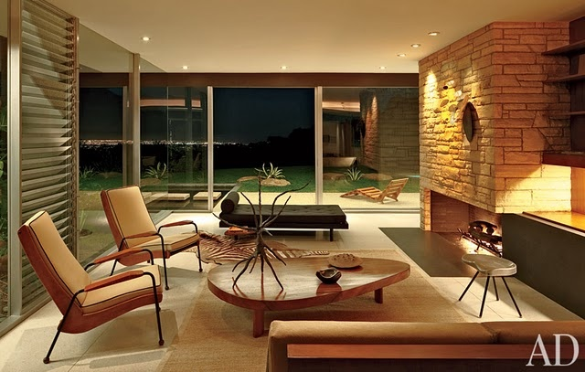 Richard Neutra: Singleton HouseModern Fireplaces, Mid Century Modern, Midcentury Modern, Living Room Design, Livingroom, Celebrities House, Singleton House, Architecture Digest, Richard Neutra