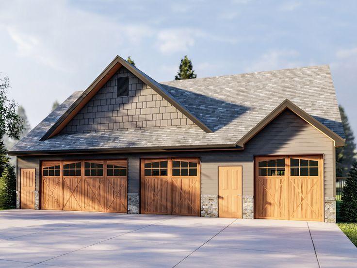 050g 0116 3 Car Garage Plan With Flex Space In 2020 Garage Plans With Loft Wood Garage Doors Garage Plans Detached