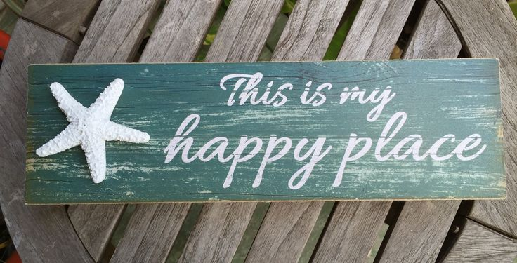 This Is My Happy Place Beach Sign Beach Decor Starfish Wooden Sign
