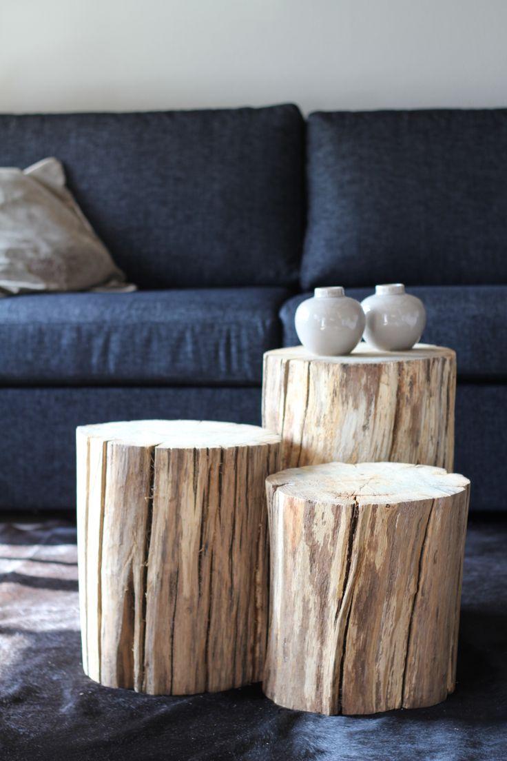 Eikenhouten tafeltjes in de woonkamer
