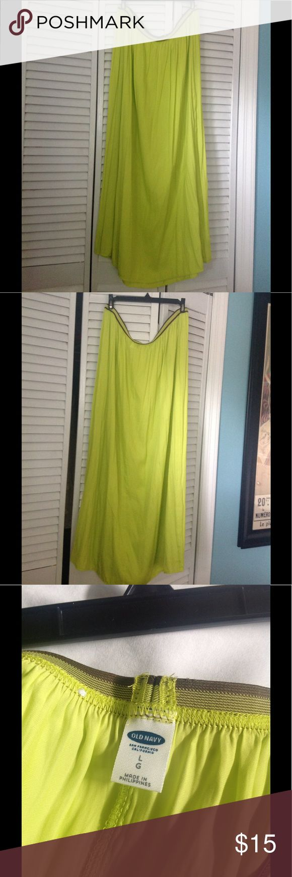 Chartreuse Maxi Skirt Chartreuse Color Maxi Skirt w/brown stripe waist band Old Navy Skirts Maxi