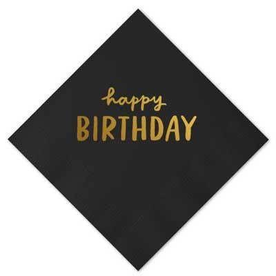 Happy Birthday Beverage Napkins, Black with Gold