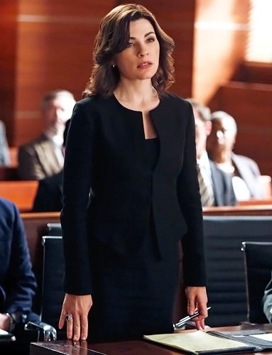 """Season 4, Episode 6 Calvin Klein Suit """"This was such a beautiful piece on her,"""" Lawson said of the Calvin Klein suit, which layered a Theory tank underneath. """"It's a little different shape, but so modern. We also rebuilt the skirt so it pegged at the bottom, and that worked really well with her, especially since it's a shorter jacket than she normally wears."""" For accessories, he added black Gucci shoes, mini silver hoops by Brooks Brothers, and a ring by Kenneth Jay Lane."""