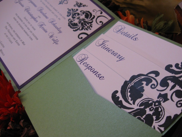 Inserts For Wedding Invitations: Damask Cascade Wedding Invitation Set
