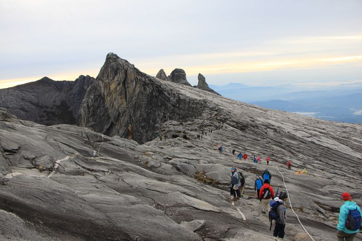 Descending across the granite face of Mount Kinabalu