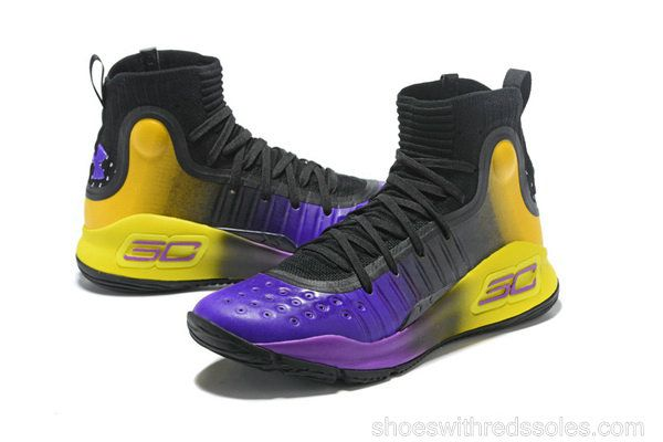 info for ff6c3 9aaee Mens Under Armour Curry 4 Mid Basketball Shoes Black Purple Yellow