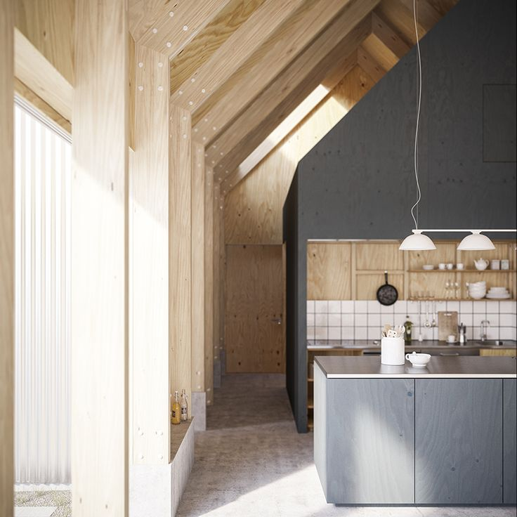 This Linköping, Sweden home is all warm wood inside which is a huge contrast from the full metal exterior.  The kitchen is fully wood interior, some left natural and some painted dark gray, the stainless steel countertop, white tile backsplash and open shelving for storage.