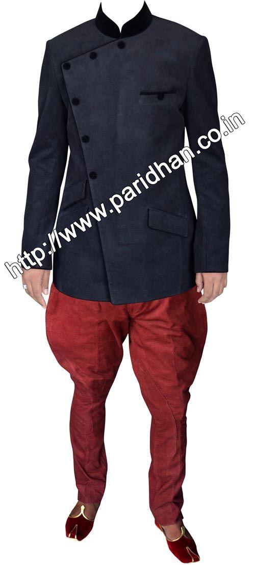 Black color corduroy-jodhpuri-suit,Indian wedding outfits