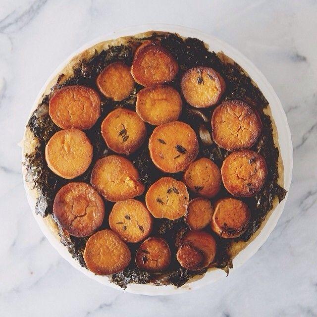 "Love this... I am always looking for winter root vegetable inspiration. ""Roasted Yam Upside Down Tart!"" recipe link - http://ripandtan.jennikayne.com/recipe/roasted-yam-kale-upside-down-tart-the-kitchy-kitchen-x-rip-tan/"