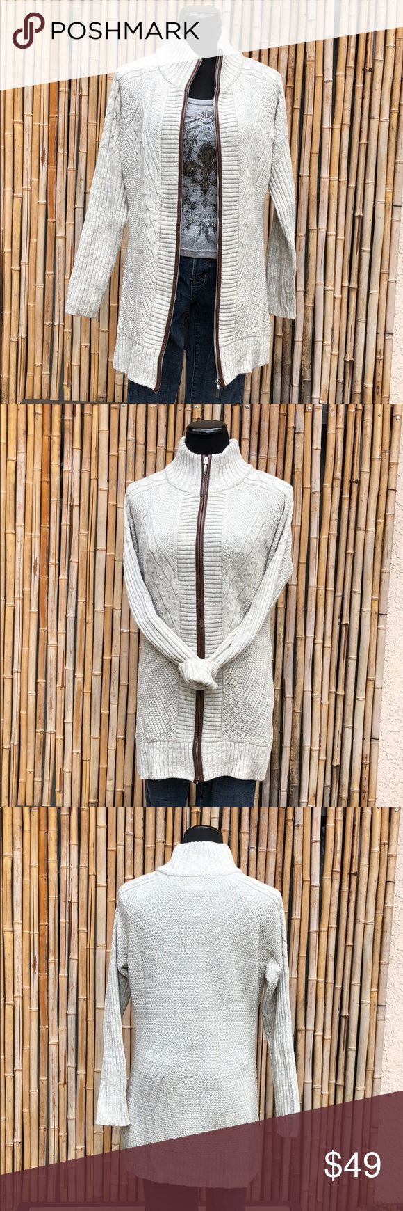 "VENUS Cream Knit Long Sweater Coat Medium VENUS Cream Knit Long Sweater Coat has multi-pattern knit, raglan sleeves, full zipper with faux leather piping.  Label size Medium Chest 21"" Length 29"" Raglan Sleeve from neck 27""  💲Bundle & Save!💲😀 🚫No Trades/No Holds😘  🔘Use OFFER button to negotiate👍🤑 ❓Please Ask ?'s BEFORE you Buy🤔😃 💕Thank you for shopping my closet!💕 VENUS Sweaters"
