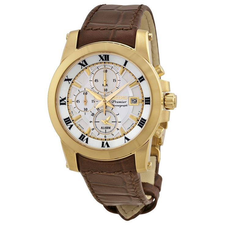 Seiko Premier White Dial Gold-tone Brown Leather Men's Watch SNAF30