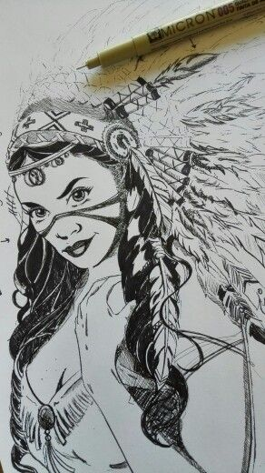 Indian Princess Ink Sketch