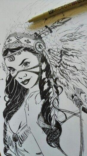 Indian Princess Ink Sketch