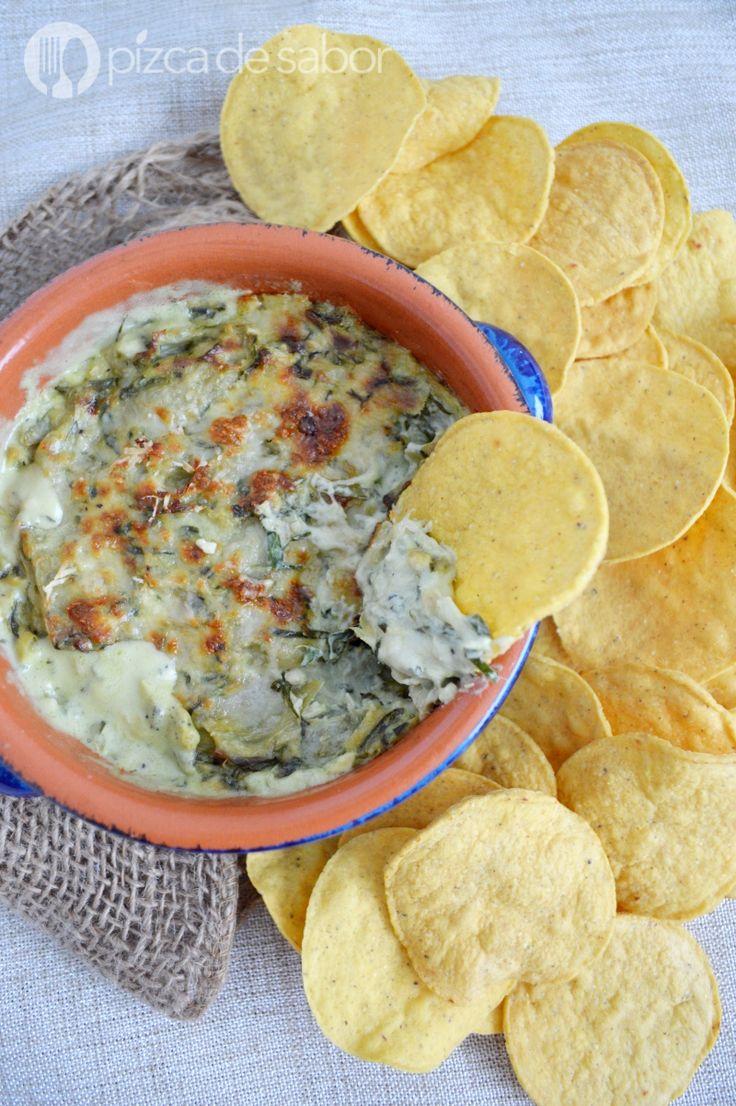 Dip de alcachofa con espinaca www.pizcadesabor.com