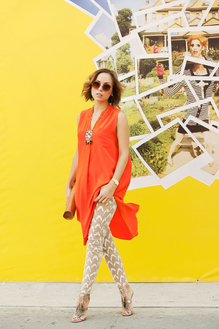 Ikat jeans and orange top. Could be easily transitioned into churidar and kameez.