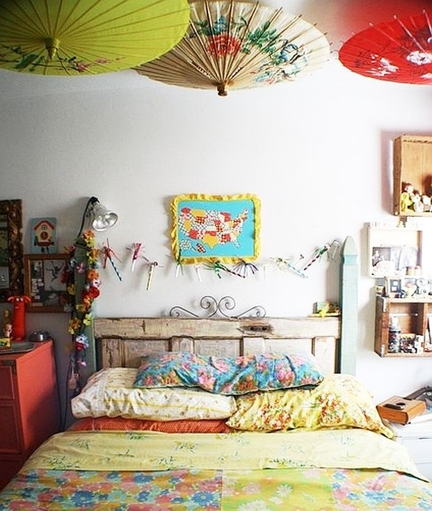 Old Door Headboard Umbrella Ceiling I Always Wanted Am In My House