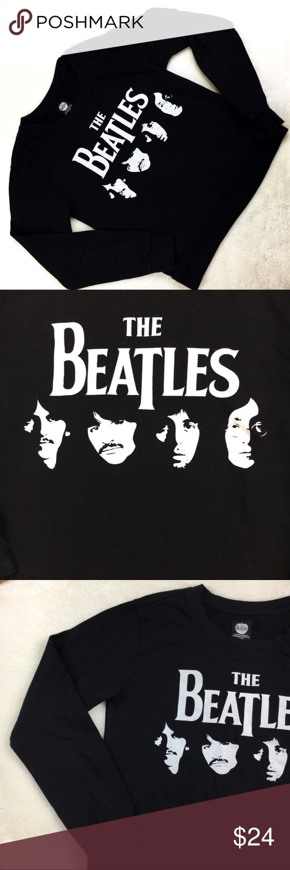 Beatles graphic pull over sweat shirt black medium This sweat shirt is in perfect condition and ready for a new home!  Approx measurements are: length 23 inches bust 38 inches the beatles Sweaters