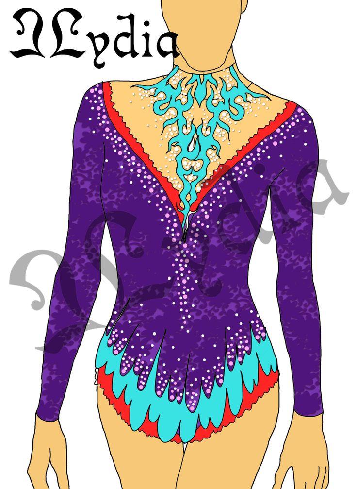 Competition Rhythmic gymnastic leotards Design purple queen