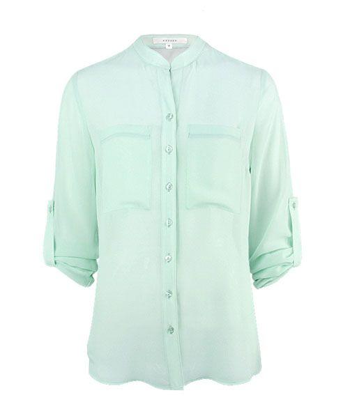 Semi-sheer Chiffon Shirt in Mint Green