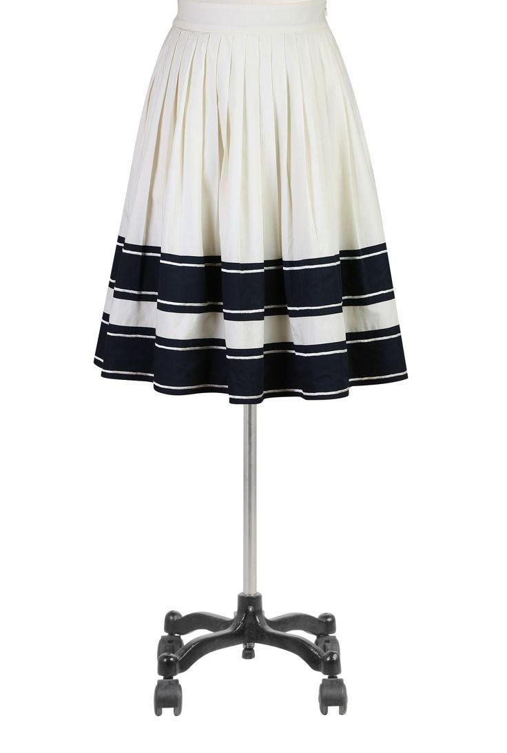 Vintage Style Border Print 1940s skirt- eShakti Women's Banded stripe poplin skirt
