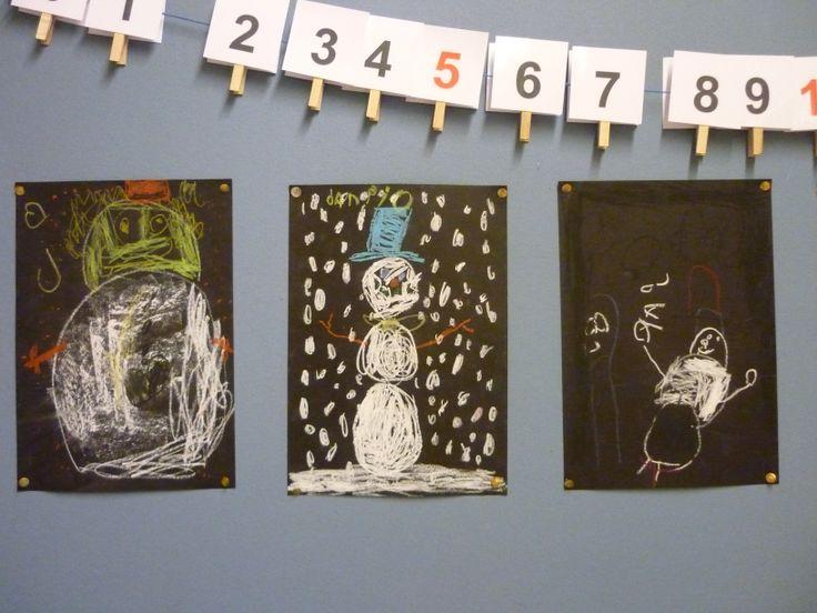 sneeuwpop tekenen met wasco, contrast zwart wit