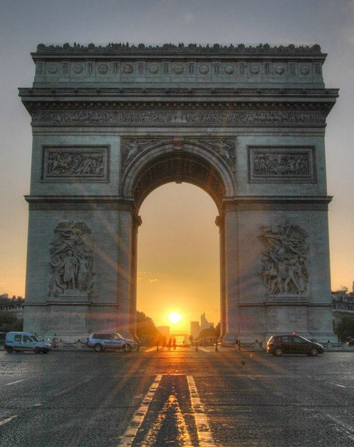 Sunrise through the Arc de Triomphe, Champs-Elysees, Paris