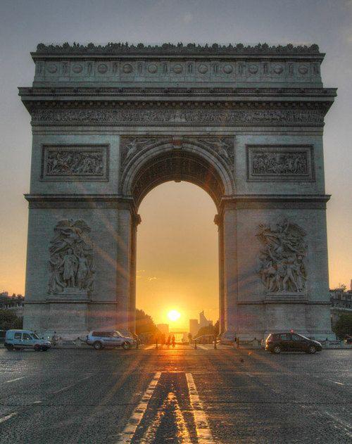Sunrise through the Arc de Triomphe, Champs-Elysees, Paris