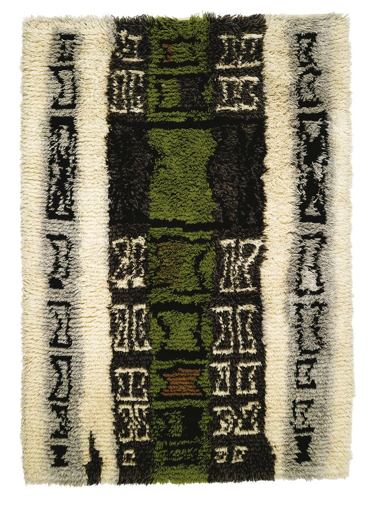 By Finnish textile artist Kirsti Ilvessalo; Handwoven Wool Rya Rug, c1955.
