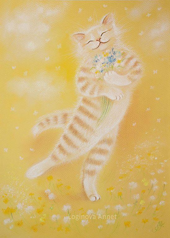 Купить Муркино лето - мурка, лето, теплые оттенки, луг, полевые цветы, котенок